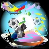 Fußball treten weg Spiel mit Telefontechnologiekunst Stockfotos