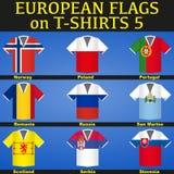 Fußball-Trikots mit Flaggen Lizenzfreie Stockbilder