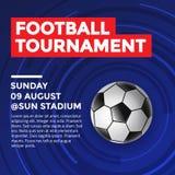Fußball-Turnier-Flieger-Design mit blauem Hintergrund Stockfotos
