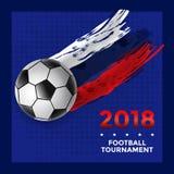Fußball-Turnier-Plakat-Design mit Fußball Stockfotografie