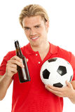 Fußball und Bier stockfoto