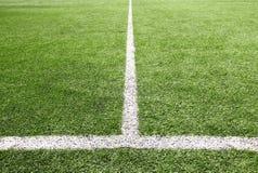 Fußball- und Fußballplatzgrasstadion Stockfotografie