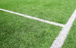 Fußball- und Fußballplatzlinie Grasstadion Lizenzfreies Stockfoto