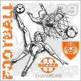 Fußball- und Fußballspieler plus Embleme für Sport Lizenzfreie Stockbilder