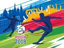 Fußball-Weltcup 2018 in Russland Mädchenlesezeitschrift auf dem sandigen Strand stock abbildung