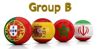 Fußball-Weltmeisterschaft gruppiert 2018 - die Gruppe B, die durch die klassischen Fußbälle dargestellt wird, die mit den Flaggen Stock Abbildung