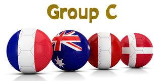 Fußball-Weltmeisterschaft gruppiert 2018 - die Gruppe C, die durch die klassischen Fußbälle dargestellt wird, die mit den Flaggen Lizenzfreie Abbildung