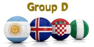 Fußball-Weltmeisterschaft gruppiert 2018 - die Gruppe D, die durch die klassischen Fußbälle dargestellt wird, die mit den Flaggen Lizenzfreie Abbildung