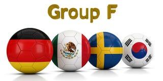 Fußball-Weltmeisterschaft gruppiert 2018 - die Gruppe F, die durch die klassischen Fußbälle dargestellt wird, die mit den Flaggen Stock Abbildung