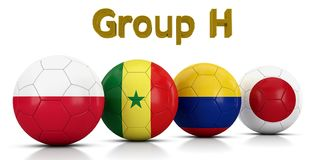 Fußball-Weltmeisterschaft gruppiert 2018 - die Gruppe H, die durch die klassischen Fußbälle dargestellt wird, die mit den Flaggen Vektor Abbildung