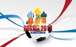 Fußball-Weltmeisterschaft in Russland 2018 Kathedrale des Basilikum-s und Fußballhintergrund Stockfotografie