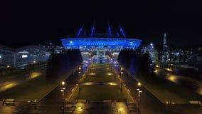 2018 Fußball-Weltmeisterschaft, Stadion Russlands, St Petersburg, St Petersburg, Nacht, Antennen stock footage