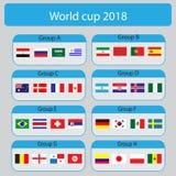 Fußball-Weltmeisterschaftsgruppen Weltcup 2018 alle Gruppe VE Lizenzfreie Stockfotografie