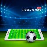 Fußball wettete online Sport, der Konzept wettet Fußballstadion und weißer Handy mit Ball auf Vordergrund Vektor stock abbildung