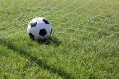 Fußball am Ziel Lizenzfreies Stockbild