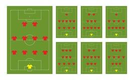 Fußballanordnungen Stockfoto