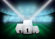 Fußballarena, Fußballstadion mit weißem Siegerpodium Stockfotografie