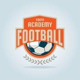 Fußballausweislogo-Schablonendesign, Fußballteam lizenzfreie stockfotografie