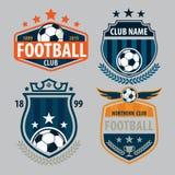 Fußballausweislogoschablonen-Sammlungsdesign, Fußballteam, vecto stockfotos