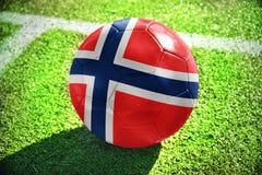 Fußballball mit der Staatsflagge von Norwegen liegt auf dem grünen Feld Stockfoto