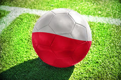 Fußballball mit der Staatsflagge von Polen liegt auf dem grünen Feld Stockbild