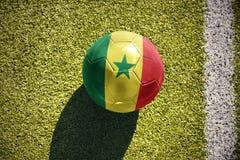 Fußballball mit der Staatsflagge von Senegal liegt auf dem Feld Lizenzfreie Stockfotografie