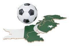 Fußballball mit Karte von Pakistan-Konzept, Wiedergabe 3D Stockbilder