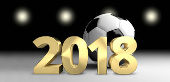 Fußballballfußball 2018 3D überträgt goldenen Fußball Lizenzfreie Stockbilder