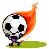 Fußballcharakter auf Feuer Stockbilder