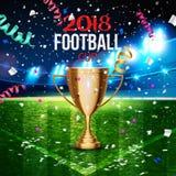 Fußballcup in der Fußballarena auf einem Hintergrund der Rasenfläche Stockbilder