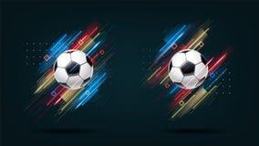 Fußballcup 2018, Fußballmeisterschafts-Illustrationssatz Dynamische glühende Neonlinien lokalisiert auf schwarzem Hintergrund vektor abbildung