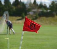 Fußballeckmarkierungsfahne Lizenzfreie Stockbilder