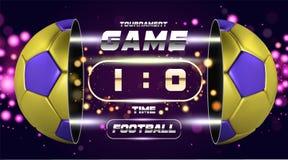 Fußballfahnen-, -plakat- oder -fliegerdesign mit goldenem Blau 3d Ball Fußballspiel-Matchdesign mit Timer oder Anzeigetafel Stockfoto