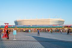 Fußballfanbesuch stadion Kaliningrad, Match zwischen Kroatien und Nigeria Stockbild