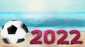 Fußballfußball 3d übertragen mit Sand- und Wasserfotohintergrund Lizenzfreie Stockfotografie
