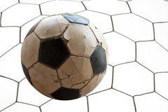 Fußballfußball im Zielnetz Lizenzfreies Stockbild