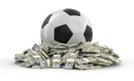 Fußballfußball mit Dollar Lizenzfreies Stockbild