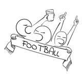 Fußballfußballfans mit Schal lizenzfreie abbildung