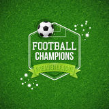 Fußballfußballplakat Fußballfußballplatzhintergrund mit ty Stockfotos