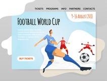 Fußballfußballspieler in der abstrakten flachen Art Vector illutration, Designschablone des Sportstandorts, Fahne oder Plakat lizenzfreie abbildung