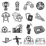 Fußballfußballsport-Ikonensatz lizenzfreie abbildung