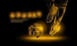 Fußballgelbe Neonfahne Polygonale Fußball-Startillustration Lizenzfreie Stockfotos