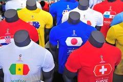 Fußballhemden in der offiziellen Fußball-Weltmeisterschaft Russland 2018 Lizenzfreies Stockbild