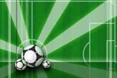 Fußballhintergrundauslegung mit Strahlen Stockfotografie