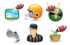 Fußballikonen, -referent, -sturzhelm und -pfeife Stockbilder