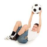 Fußballjungenstudio lokalisiert Stockbild
