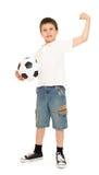 Fußballjungenstudio lokalisiert Stockbilder