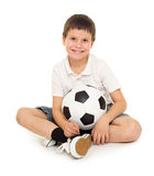 Fußballjungenstudio lokalisiert Lizenzfreies Stockbild