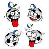 Fußballkarikatur-smileygesichter Stockfoto