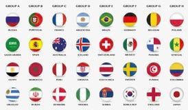 Fußballknöpfe mit Flaggendesign von verschiedenen Fußballteams Stockfoto